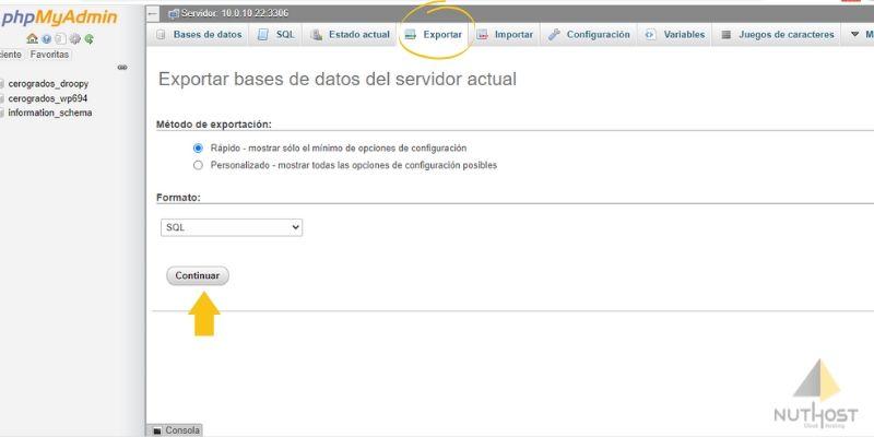 phpmyadmin exportar base de datos wordpress