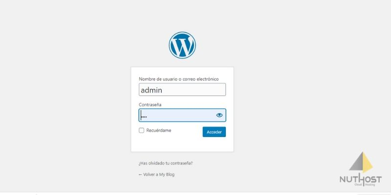 inicio sesion wordpress