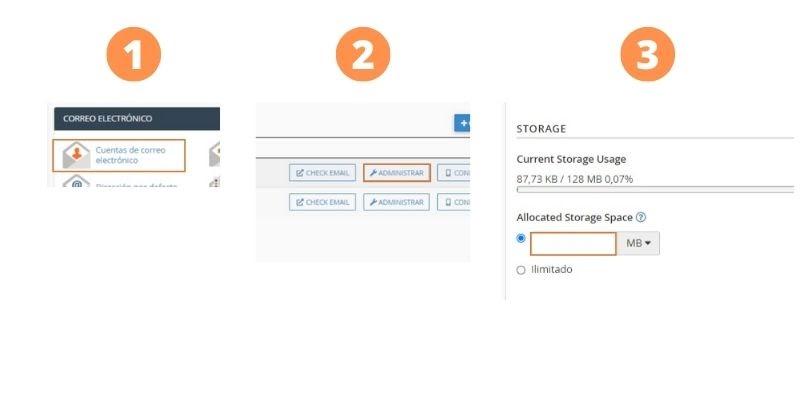 ¿Cómo aumentar el espacio de una cuenta de email en cPanel?