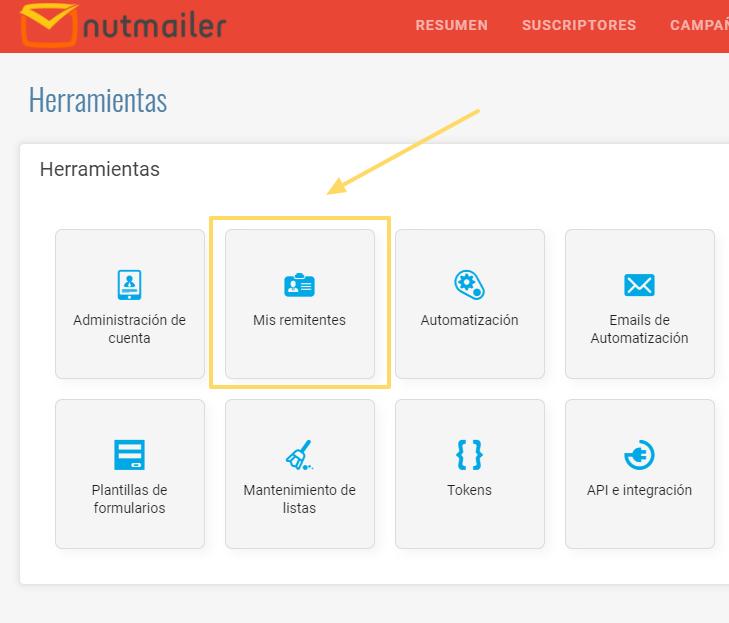 Crear remitentes en NutMailer