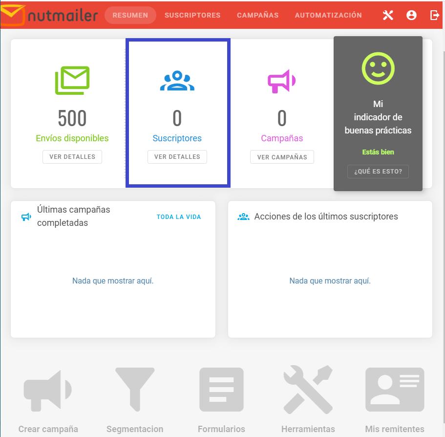 Listas de Segmentación en NutMailer paso 3 Centro de ayuda NUTHOST