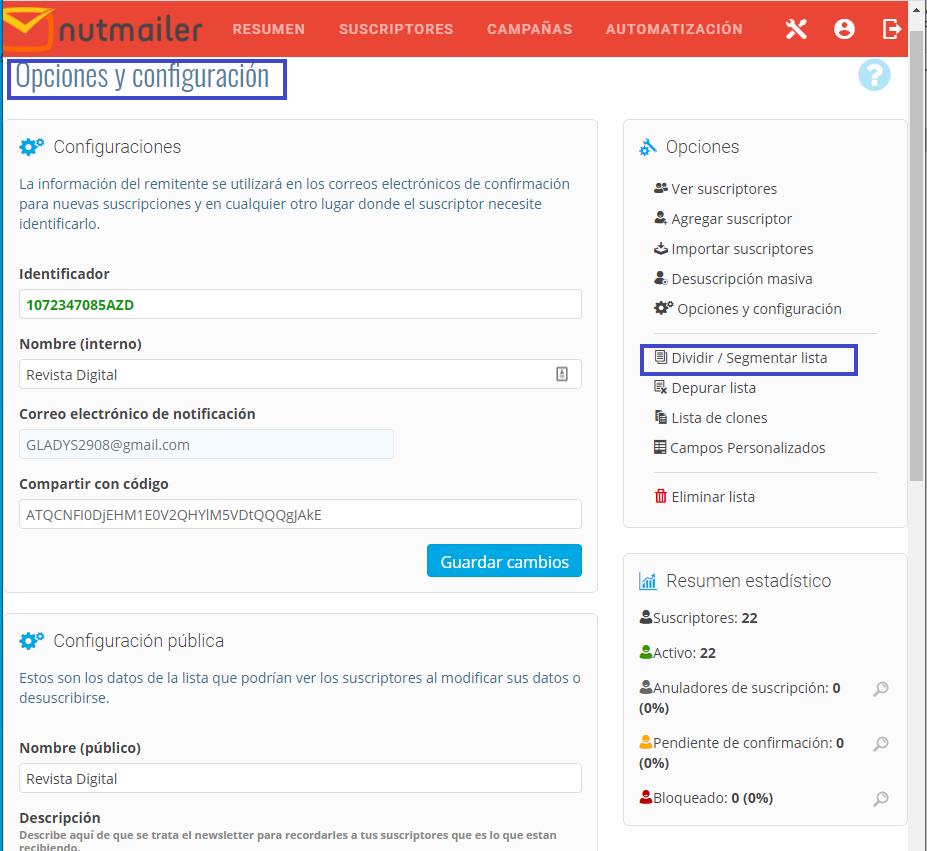 Listas de Segmentación en NutMailer segmentar listas Centro de ayuda NUTHOST