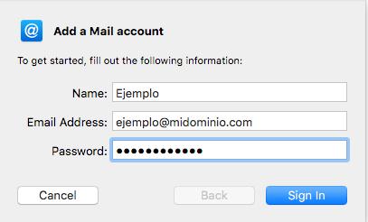 Datos de conexión correo electrónico Apple